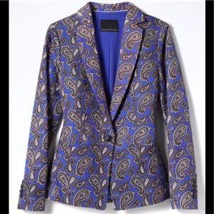 Banana Republic Women's Blue Paisley Linen Blazer